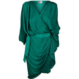 LANVIN - Long sleeve silk drape dress