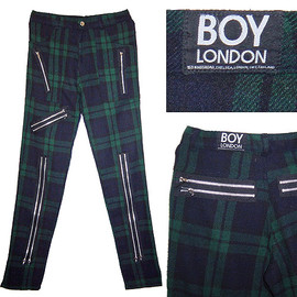 BOY LONDON - BOY LONDON (VINTAGE) ZIP trousers ボーイロンドン ZIPパンツ 緑タータン