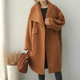 Winter wool overcoat - Loose Fitting wool overcoat, Stand collar wool long coat
