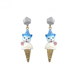 N2 - Lillte blue monster on an ice cream cone earrings
