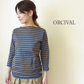 ORCIVAL - ボーダーボートネック8分袖カットソー