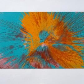 Damien Hirst - Beautiful juicy orange splattered all over a sumptuous blue I feel naughty painting