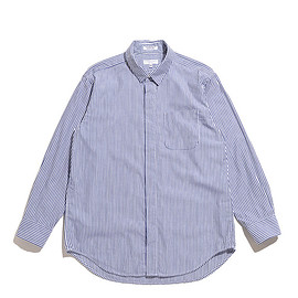 ENGINEERED GARMENTS - Short Collar Shirt-Bengal St. Broadcloth-Navy×Whit