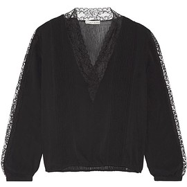 Alice + Olivia - Kaitlyn lace-trimmed stretch-chiffon blouse