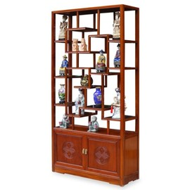 ChinaFurnitureOnline - Rosewood Ming Curio Cabinet - Natural