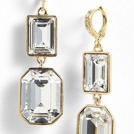 Givenchy - Drop Earrings Gold/ Clear Crystal