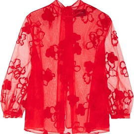 Simone Rocha - Embroidered tulle blouse