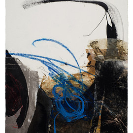 Fran Skiles - Earth Paper Series V, ink, water based paints, photography and papers with acrylic medium on paper