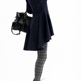 coat - Image of [grzxy6600499]European Style Double Breast High-low Hemline Worsted Coat