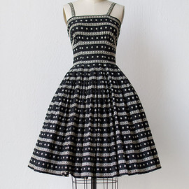 vintage 1950s black party dress with lace