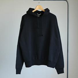 AURALEE - BACK WOOL SWEAT BIG PARKA #black