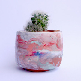 Red, peach and teal ceramic planter