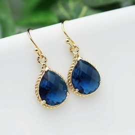 Wedding Jewelry Dangle Earrings Bridal Earrings Bridesmaid Earrings Sapphire Blue glass Pear Cut Earrings