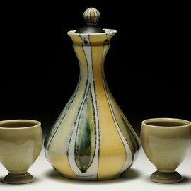 Loma Meaden - Wine Decanter and Cups Set, Porcelain, wheel thrown, wood/soda fired to cone