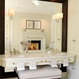 interior - Stunning Bathroom. Love the Large mirror, beautiful vanity with towel racks on the front