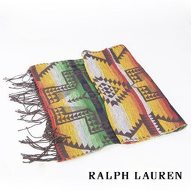 POLO RALPH LAUREN ラルフローレン - POLO RALPH LAUREN ラルフローレン ノースカントリー ビーコンズ マフラー  Made in ITALY North Country Beacons Muffler  ネイティブ柄 ストール  オレンジ