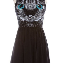 Whimsical Whiskers Jersey Dress by Cafian, BLACK