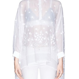 GIAMBA - SS2015 Daisy embroidery cotton voile cape blouse