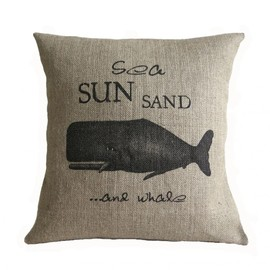 Luulla - Sea Sun Sand and Whale Nautical Burlap Pillow Cover