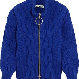 Off-White - Cable-knit wool-blend cardigan