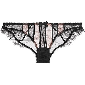 Agent Provocateur - Saffi paneled stretch-Leavers lace and tulle briefs