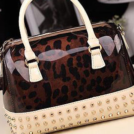 bag - Image of [grzxy62000117]Punk Style Sweet Candy Color Rivet Leopard Print Lined Handbag