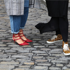 VALENTINO - valentino studded red heels and leopard sneakers