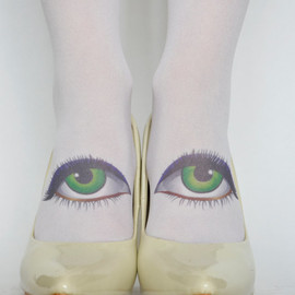 Green Eyes Knee High Tattoo Socks