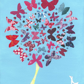 Luulla - Butterfly Tree - Art Print - 5 x 6.25