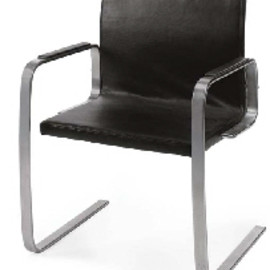 POUL KJAERHOLM - A CHROMED-STEEL AND LEATHER 'PK-13' ARMCHAIR, DESIGNED 1974