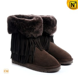 CWMALLS - Ladies Shearling Lined Fringe Ankle Boots CW314427