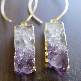 Friedasophie - Amethyst Stalactite Druzy Earrings 14k Gold