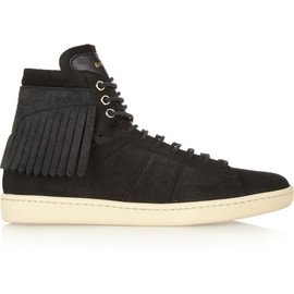 SAINT LAURENT - SS2015 Fringed suede high-top sneakers