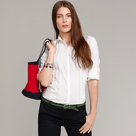 TOMMY HILFIGER - Pleated Front White Shirt