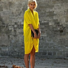 street - yellow dress