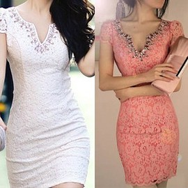 Luxurious Rhinestone Deep V-neck Slim Fit Dress