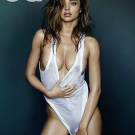 Miranda Kerr - Nude pose: The mother-of-one posed in a string vest and pulled it down to cover her modesty