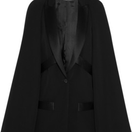 GIVENCHY - Wool cape jacket with satin details