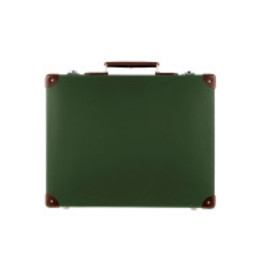 "GLOBE-TROTTER - ORIGINAL Green and Tan - 18"" SLIM ATTACHE"