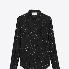 SAINT LAURENT PARIS - CLASSIC WESTERN SHIRT IN BLACK AND WHITE RINSE STAR PRINTED COTTON