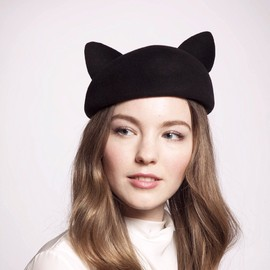 EUGENIA KIM - Caterina Velour Felt Cat Ears Beret in Black