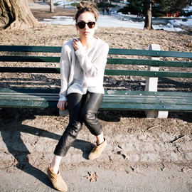 (H&M sweater, Theyskens x Theory cropped leather pants, Topshop boots, Marco Tagliaferri bag, Whyred sunglasses)