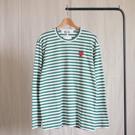 PLAY COMME des GARCONS - 綿天竺ボーダー(赤エンブレム) T-Shirt #green