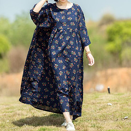 long Dresses - Dark blue long Dresses, Oversized Cotton long dress, Pocket Dresses maxi dress