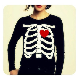 repurposefulpunk - Halloween Skeleton Beating HEART Women Long Sleeve TShirt