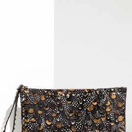 VALENTINO - Valentino feather-print calf hair 'Rockstud' Clutch