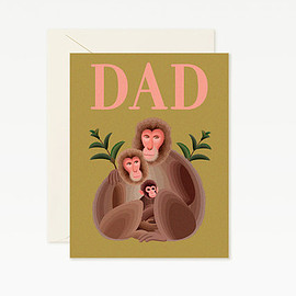 Clap Clap - Monkey Family Happy Father's Day Card