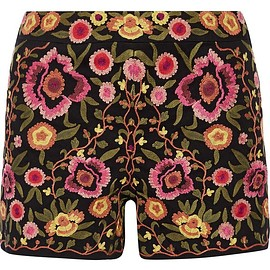 Alice + Olivia - Marisa embroidered stretch-cotton shorts
