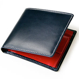 Whitehouse Cox - S7532 BRIDLE LEATHER Bill Fold Wallet with Coin Purse (Navy/Red) Holiday Line