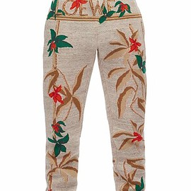 LOEWE - Trousers Flowers Light Grey/Multicolor front